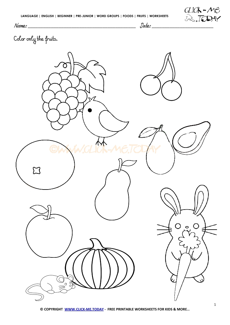 Pics Photos - Fruits Worksheet