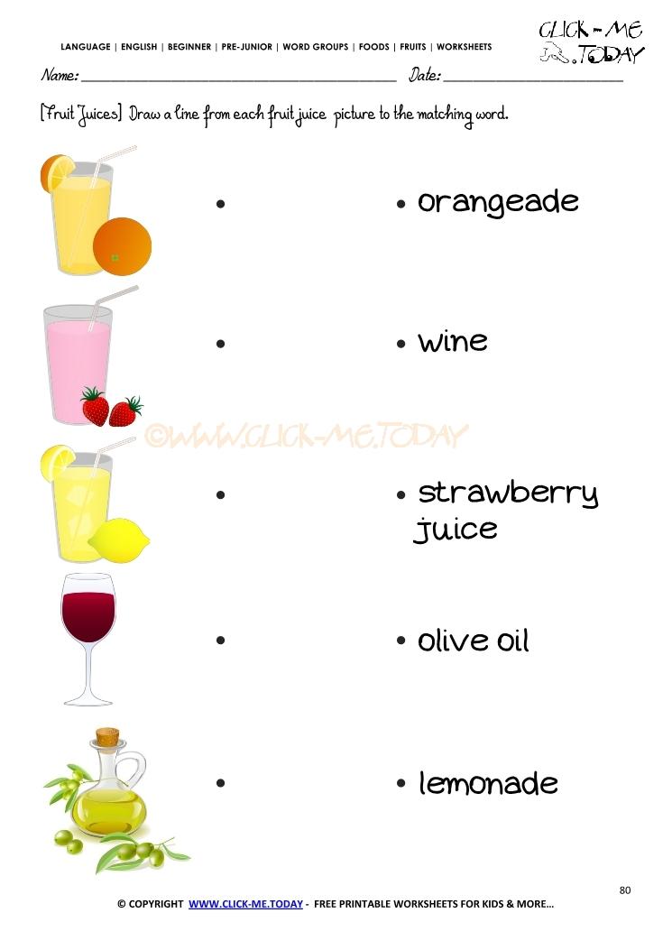 Fruits Worksheet 80 Matching fruits juice worksheet