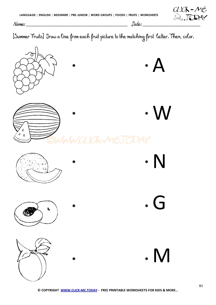 Fruits worksheet 83 match the summer fruit with the letter ibookread Read Online