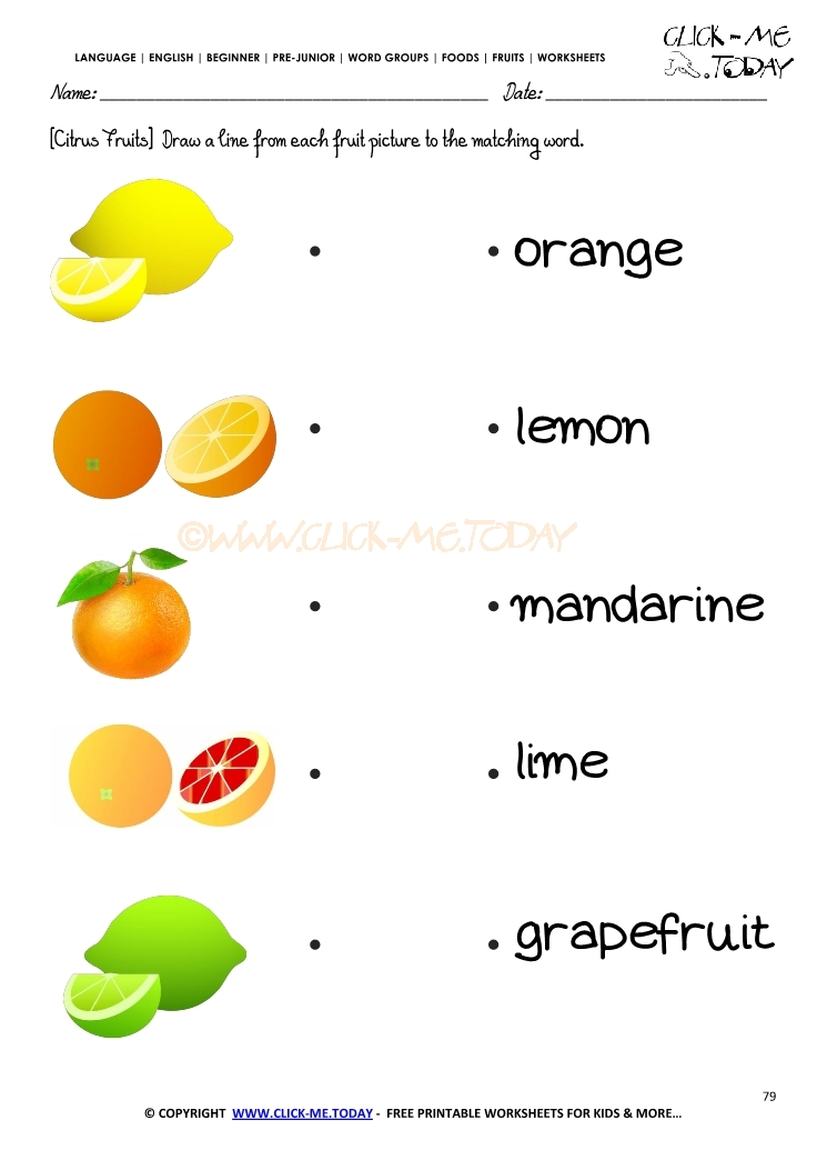 Fruits Worksheet 79 - Matching citrus fruits names worksheet