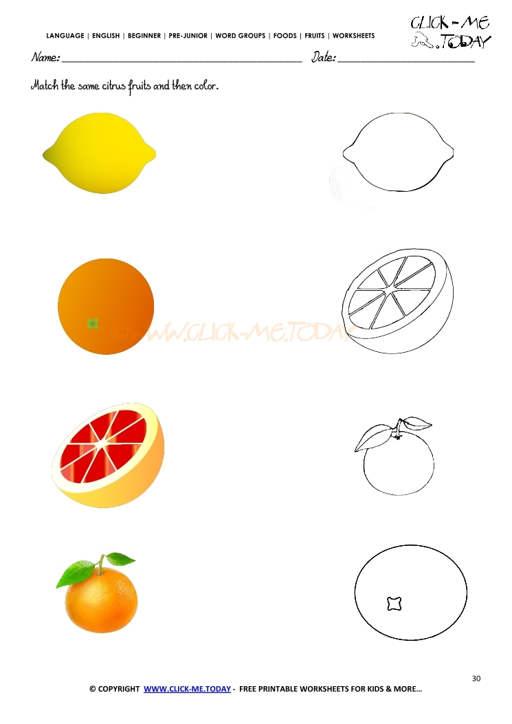Fruits Worksheet 30 - Match the same citrus fruits and ...