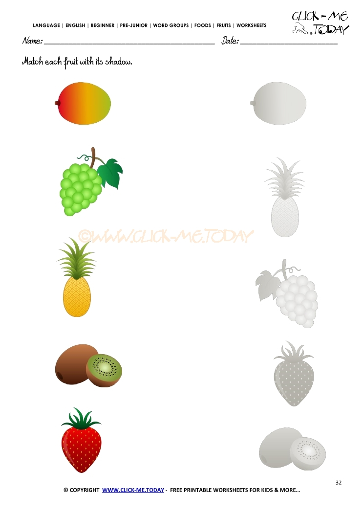 Fruits Worksheet 32 - Match each fruit with its shadow