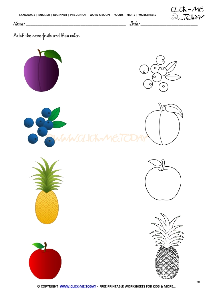 Fruits Worksheet 28 - Match the same fruits and then color