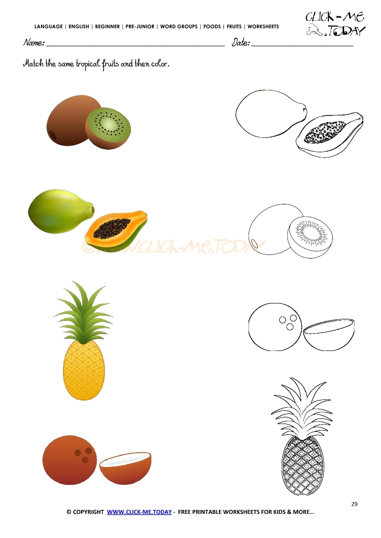 Fruits Worksheet 29 - Match the same tropical fruits and