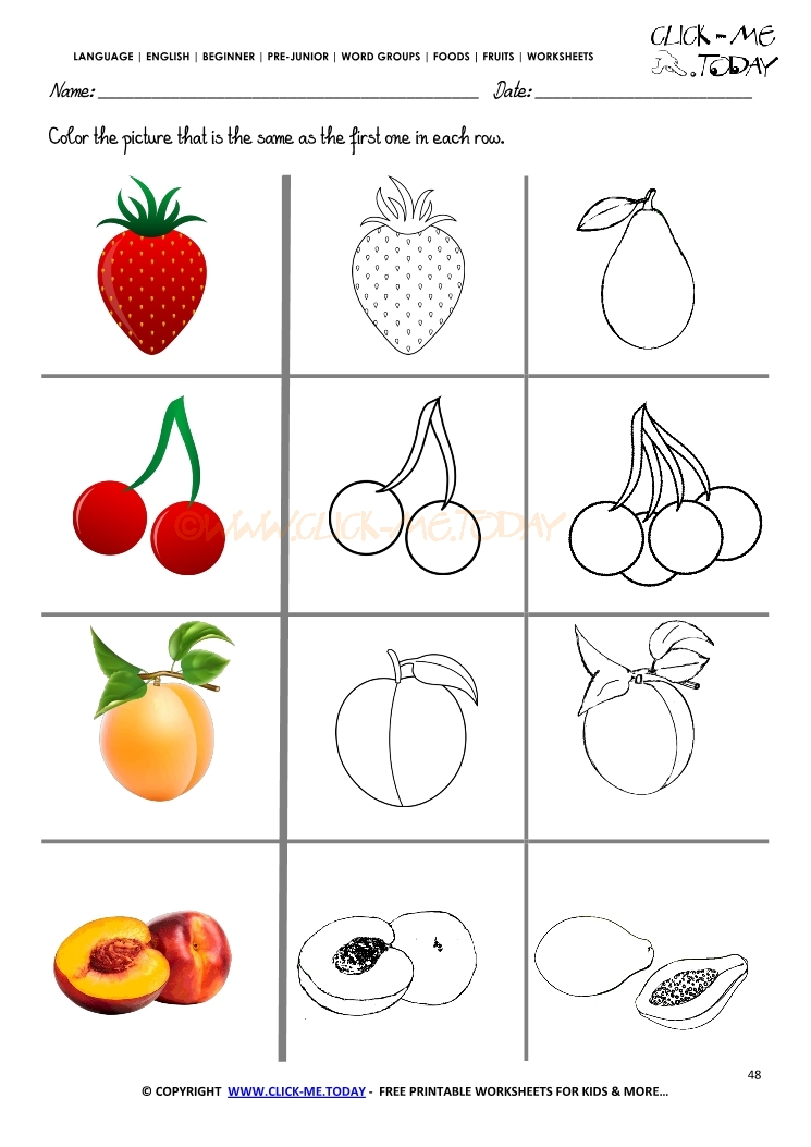 Fruits Worksheet 48 - Same Fruit Worksheet