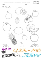 Fruits Worksheet 2 - Color only the apples
