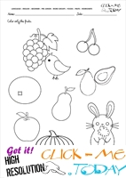 Fruits Worksheet 1 - Color only the fruits