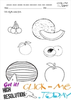 Fruits Worksheet 5 - Color only the summer fruits