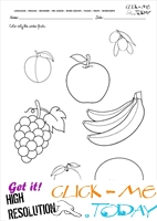 Fruits Worksheet 7 - Color only the winter fruits