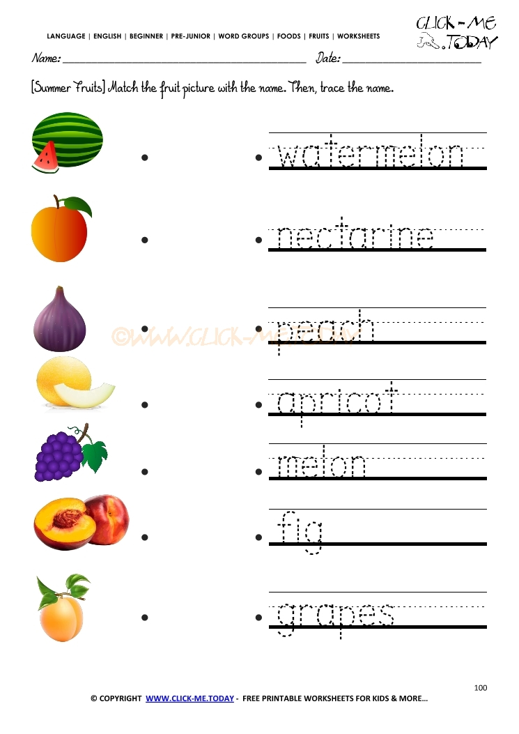 Trace Summer Fruits Worksheet on preschool prewriting practice letter a