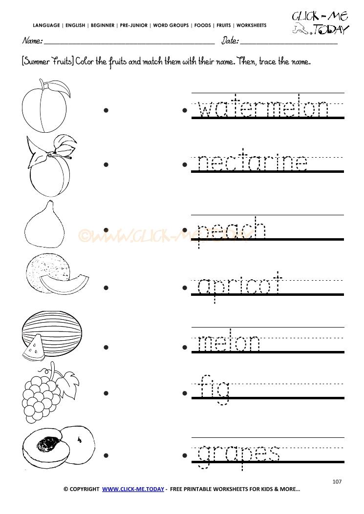 Fruits Worksheet 107 - Trace summer fruits worksheet