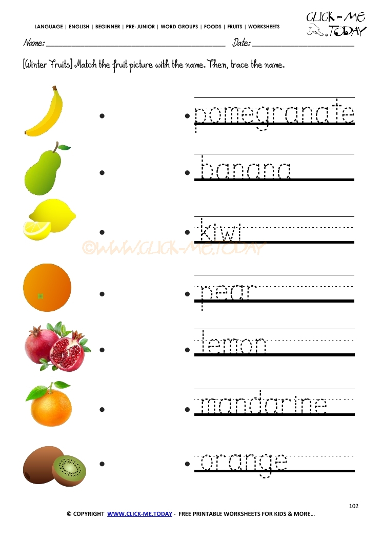 Fruits Worksheet 102 Trace winter