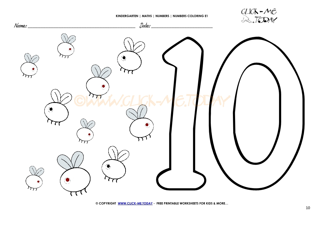 number coloring pages number 10