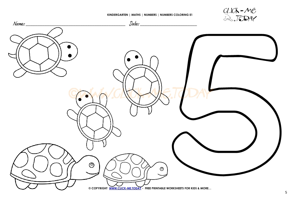 Number coloring pages number 5 for Number 5 coloring page