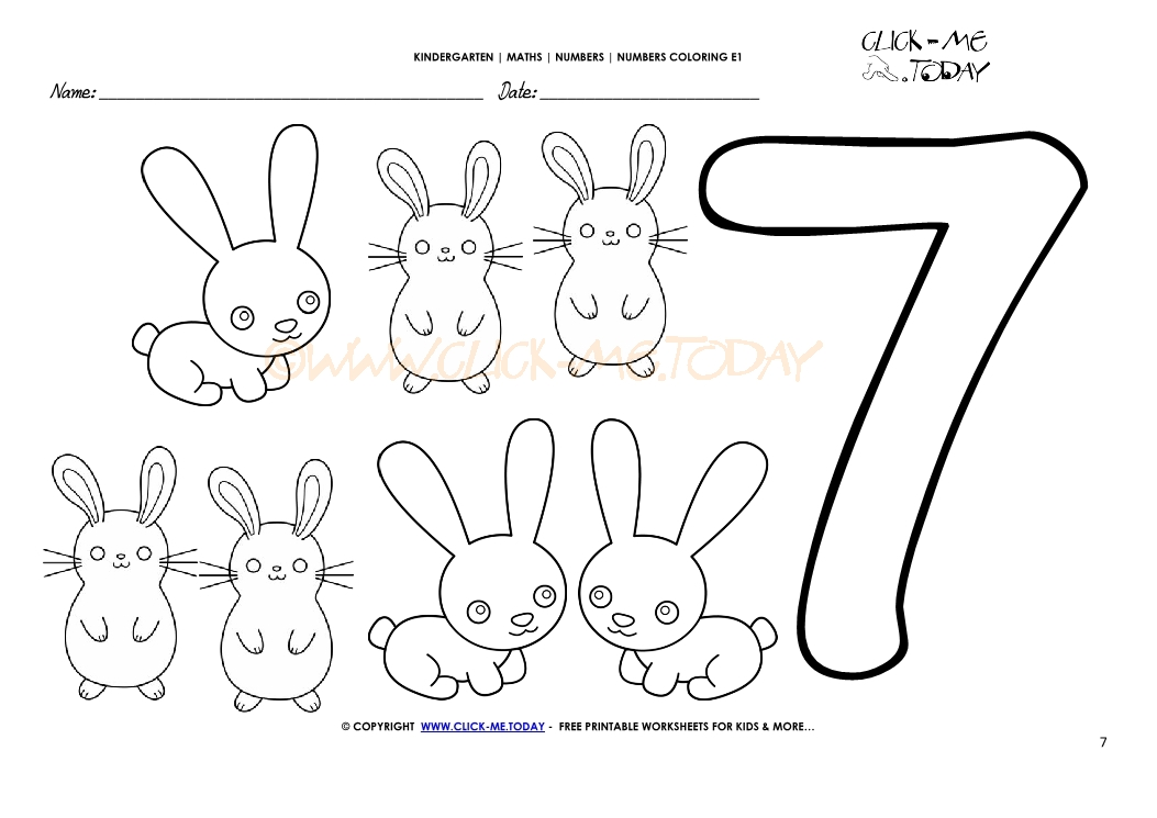 Number coloring pages - Number 7
