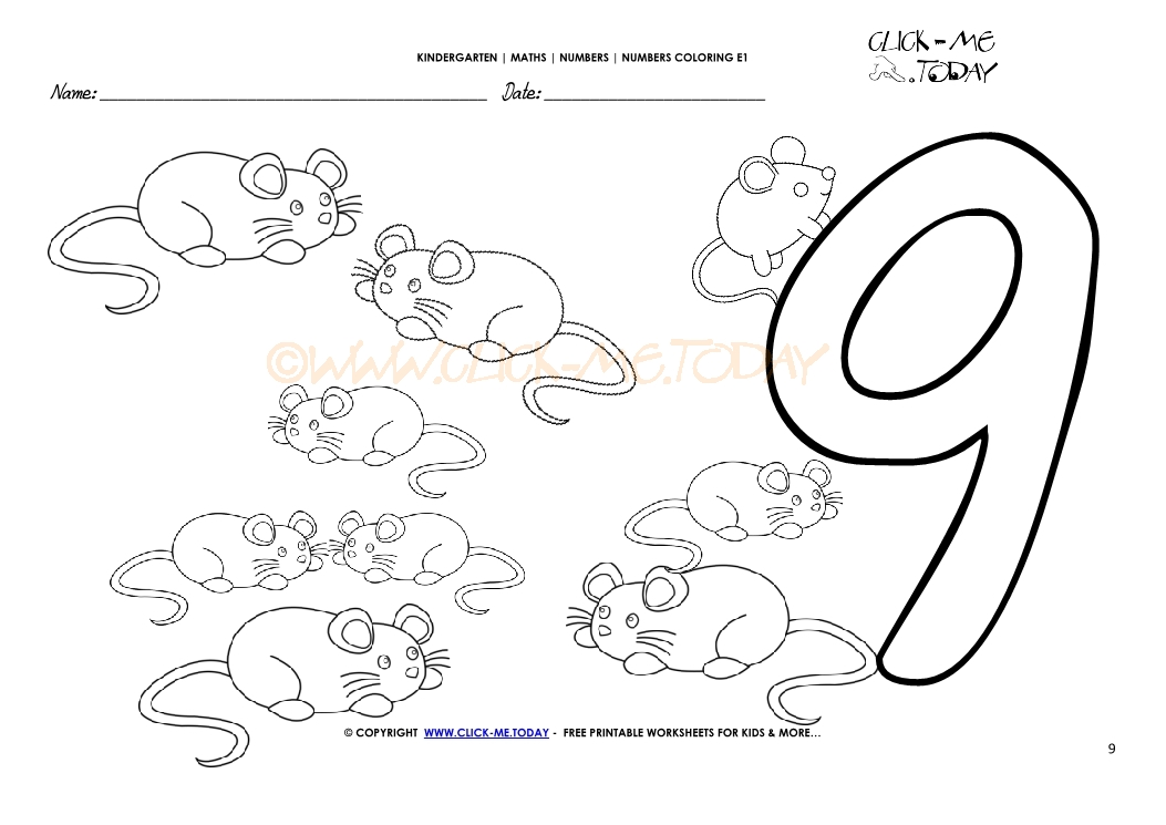 Number Nine Coloring Page Printable