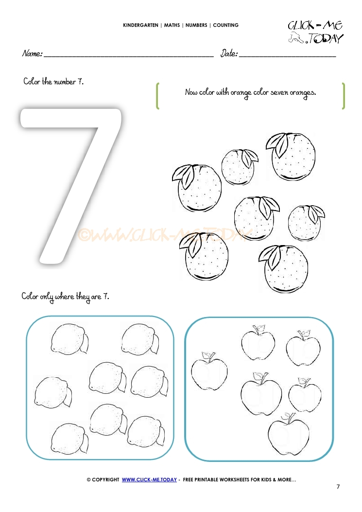 Number Seven 7 Worksheets For Preschool. Number. Best Free ...