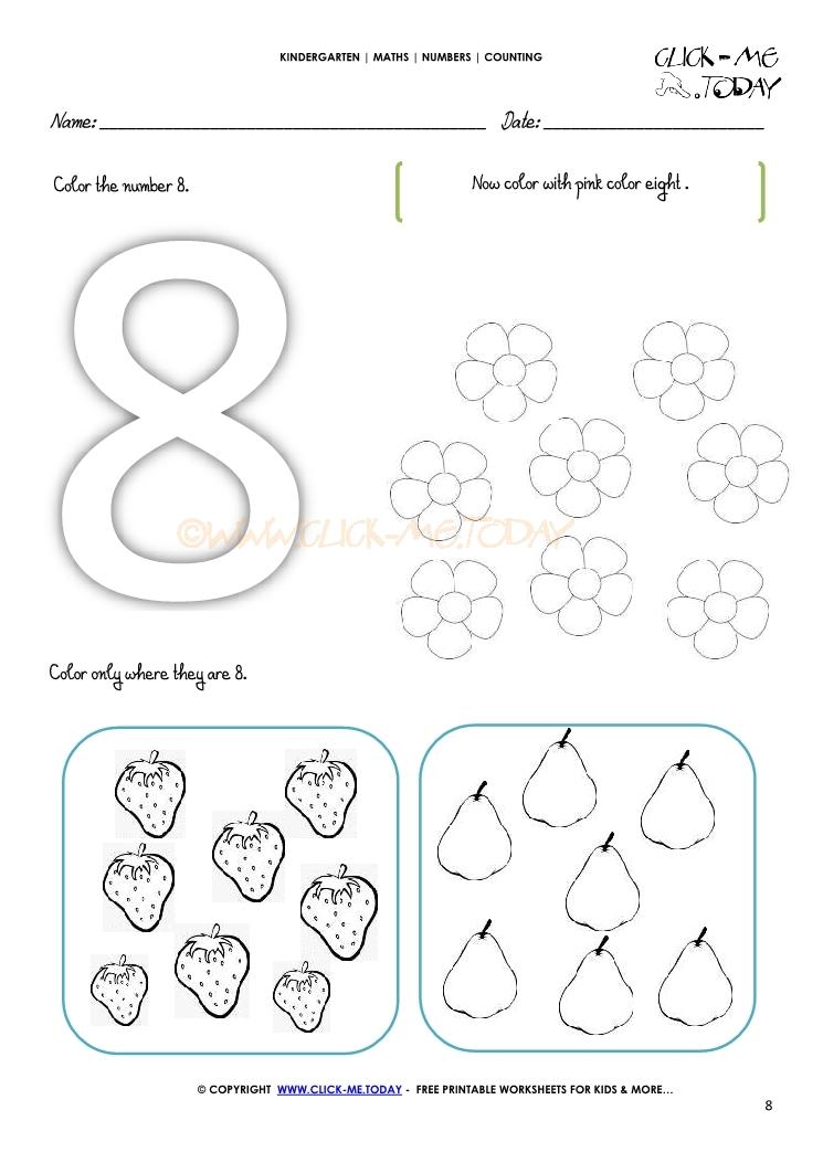 counting worksheet 8. Black Bedroom Furniture Sets. Home Design Ideas