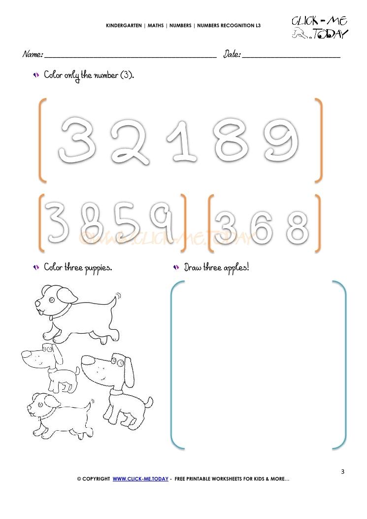 numbers recognition worksheets l3 3. Black Bedroom Furniture Sets. Home Design Ideas
