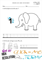 Tracing numbers worksheets - Number 1