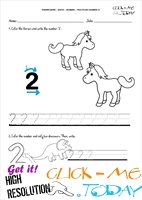 Tracing numbers worksheets - Number 2