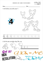 Tracing numbers worksheets - Number 4