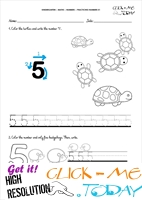 Tracing numbers worksheets - Number 5