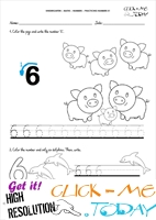 Tracing numbers worksheets - Number 6