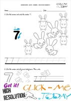 Tracing numbers worksheets - Number 7