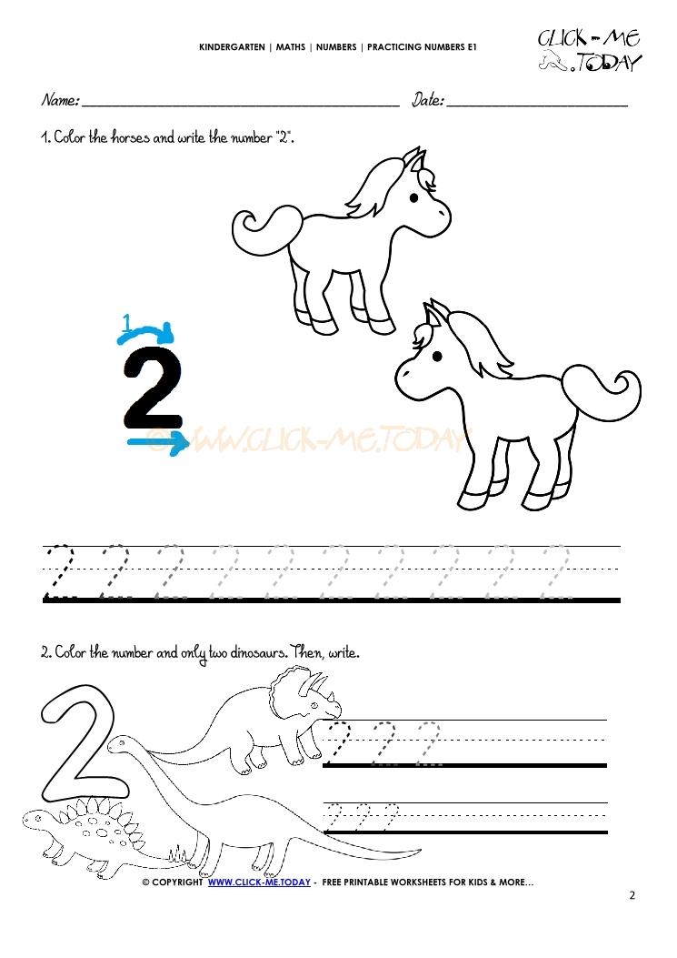 Tracing Numbers Worksheets Number 2
