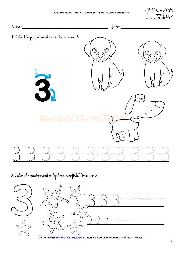 Tracing numbers worksheets - Number 3