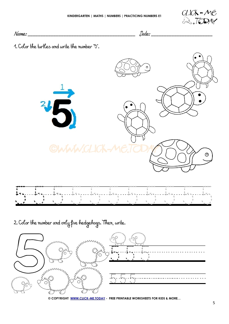 Tracing Numbers Worksheets Number 5
