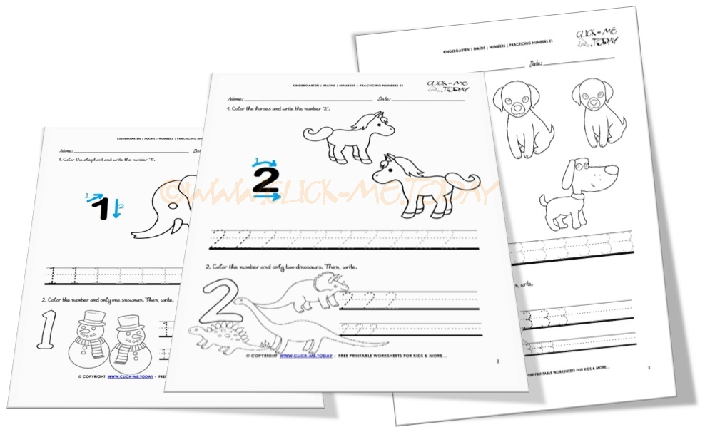 Tracing numbers worksheets for Kindergarten: Numbers 1-10