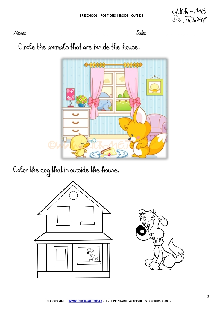 Inside outside worksheet 2 for Inside and outside pictures