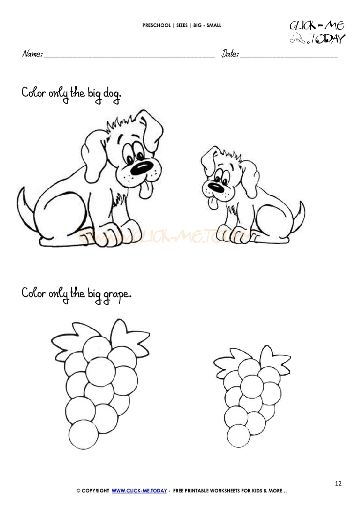 big small worksheet 12 - Big And Small Coloring Pages