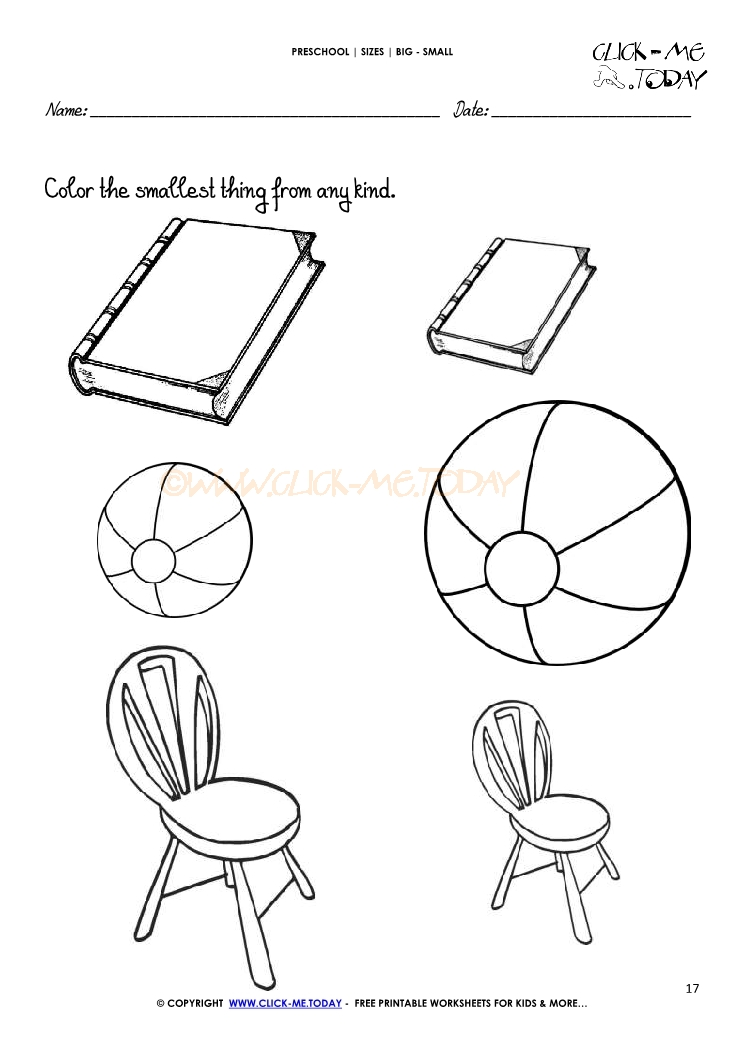 244 Big Small Worksheet 17 on Heavy And Light Objects Clipart