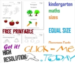 Equal size Cards, Worksheets & Coloring pages for Kindergarten