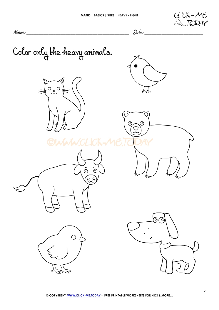 Free printable Heavy Light Activity sheets Worksheets 2 – Light and Color Worksheet