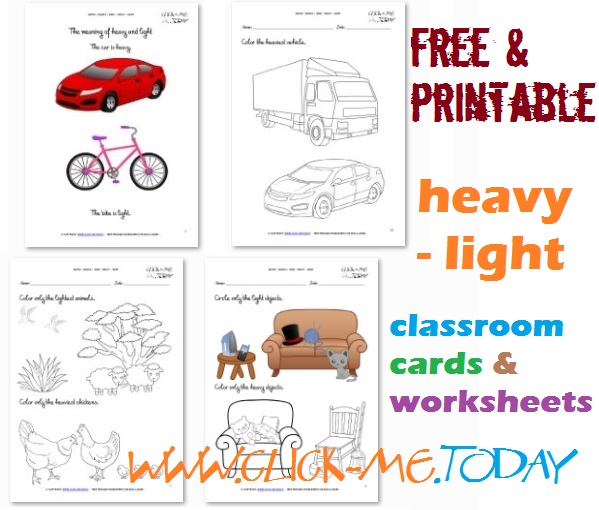 heavy light cards worksheets coloring pages for kindergarten. Black Bedroom Furniture Sets. Home Design Ideas
