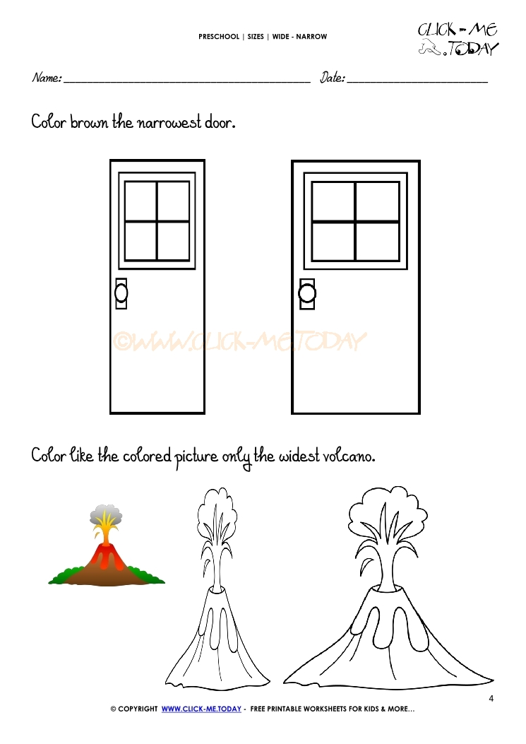 Wide Narrow Worksheets on color by number coloring pages for preschool