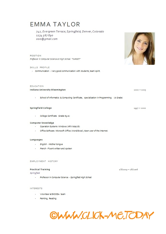 Resume Format English. Cv Template Examples Writing A Cv
