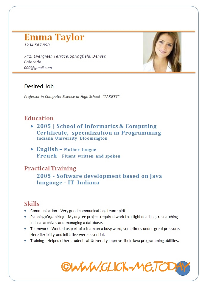 Curriculum Vitae Samples Doc Sivan Mydearest Co