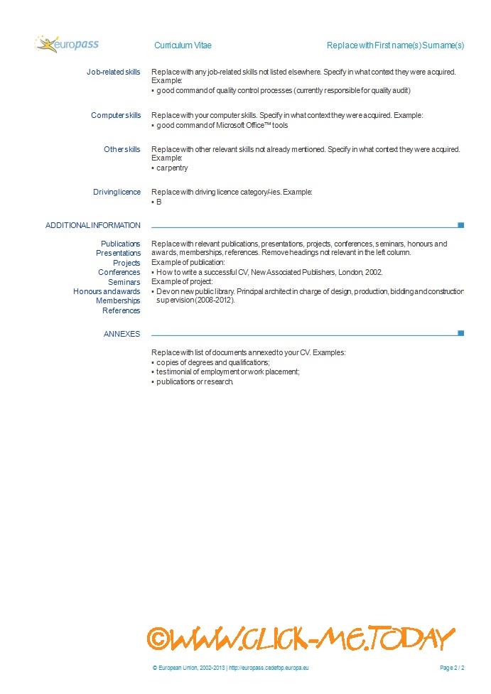 europass cv template
