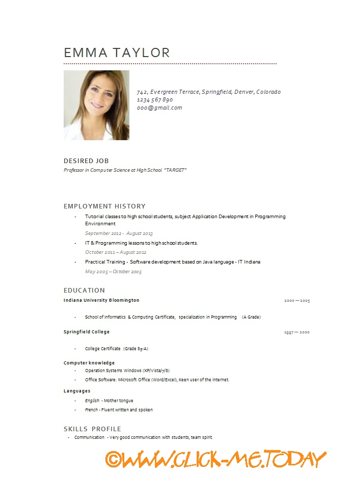 short cv model cv model download word doc pdf