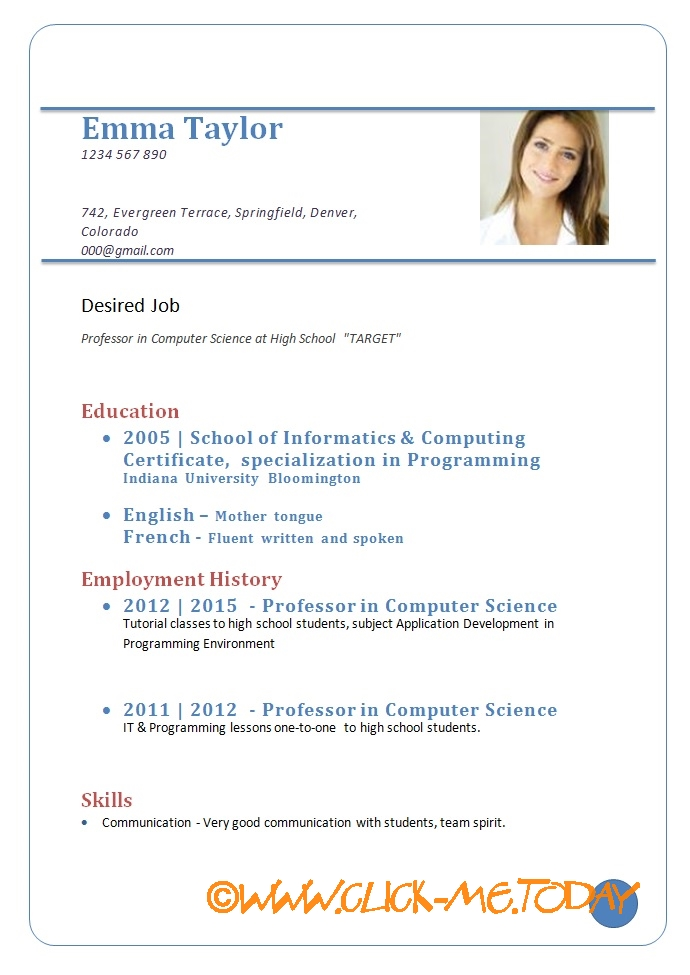 Sample Cv For Job Download Format Doc Pdf