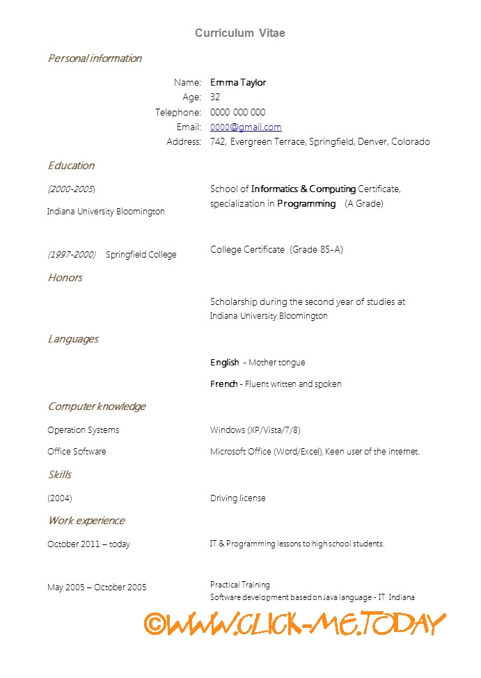 SIMPLE CV NEW GRADUATES   CV TEMPLATE DOC